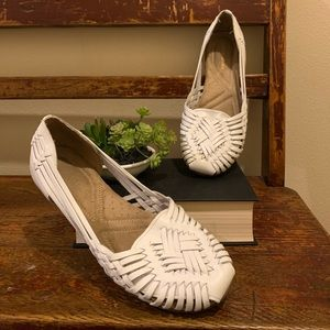 Naturalizer Gobi white leather woven boho flats